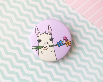 Cute Llama Pin Button Badge Llama Gift Wedding Favour Party Favour Llama Badge Llama Accessories