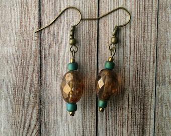 Turquoise and Bronze Bead Earrings