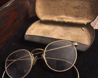 "Antique ""Lennon style"" gold eyeglasses...FREE shipping !!!"
