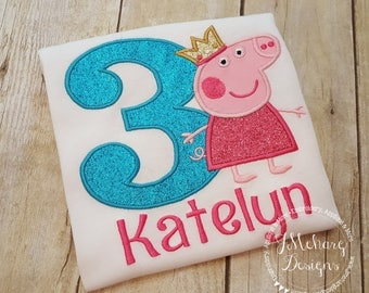 Princess Peppa Pig Birthday Custom Tee Shirt - Customizable -  Infant to Youth 329a