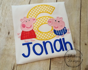 Peppa & George Pig Birthday Custom Tee Shirt - Customizable -  Infant to Youth 218c white