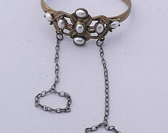 Pearl and Brass Elegant Slave Bracelet