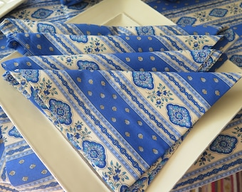 Cotton Napkin Esterel,  fabric from Provence, France. Set of 2-4-6-8-10-12...Choose the color : terra cotta or blue.