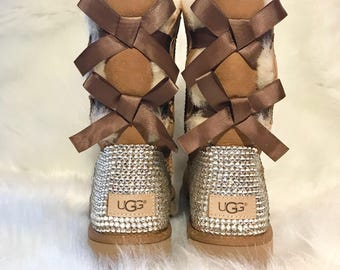 Bling UGG boots- crystal UGG boots- bling uggs- womans ugg boots- custom UGG boots- bling Chestnut ugg boots- bling uggs with bows- sparkly