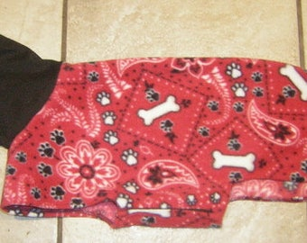 SMALL Red Bandana Hanky  House coat Small Toy Dog Italian Greyhound Chinese Crested Min Pin Manchester Terrier