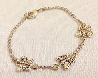 Butterfly KIDS Anklet, Silver Butterfly Ankle Bracelet, Kids Gifts, Child Jewelry, Kids Jewelry, Silver Bracelet, Butterfly Jewelry, Anklet