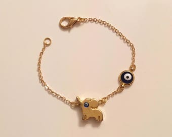 Gold Plated Elephant Bracelet, Cute Gold Evil Eye Elephant Charm, Kids Jewelry, Toddler Jewelry, Gift for Kids, Baby Jewelry,elephant charm