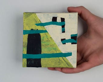 """Small Abstract Acrylic Painting - """"Uncomfortable Position"""""""