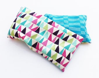 Heating pad neck 50 cm x 10 geometric TRIANGLES turquoise and multicolored fabrics