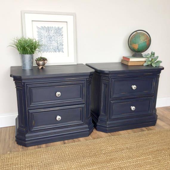 Navy Blue Nightstands - Thomasville Bedroom Furniture - Pair of Nightstands - Country Cottage Furniture - Bedside Drawers, Vintage Furniture