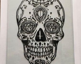 Black & White Sugar Skull Hand Painted On Glass
