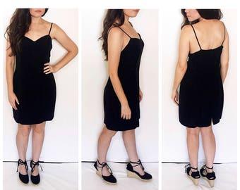 Vintage 80s black mini dress / spaghetti strap dress / minimalist party dress