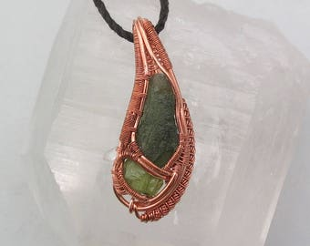Wire Wrapped Pendant Heady Wire Wrap Moldavite Pendant Peridot Crystal Wire Wrap Jewelry Handmade Copper
