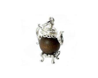 Sterling Silver Lucky Touch Wud Wood Coffee Pot Charm For Bracelets