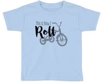 "Kids Short Sleeve T-Shirt ""This is how I roll"" funny, cute, kid, back to school"