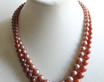 Vintage Dusty Pink Beaded Necklace, Double Stranded, Retro Costume Jewelry,
