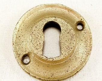 Vintage Brass Escutcheon - Round Keyhole Plate
