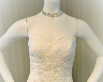Sweetheart Neckline White Chiffon and Pink Applique Drop Waist Wedding Dress by Maggie Sottero