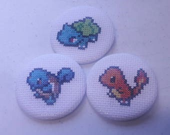 Pokemon Cross Stitch Button - Bulbasuar, Squirtle, Charmander