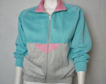 Vintage 80s Ladies Teal Bold Spirit Zippered Sweatshirt Size M