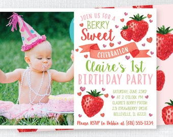 Watercolor Strawberry 1st Birthday Flat Card