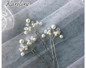3 White Bridal Vine Silver and Pearl Hair Pins, Wedding Hair Accessories, Wedding Prom Headpiece
