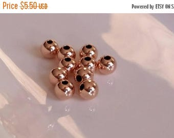 SAVE 20% SAT & SUN 10 Pieces 14k Rose Gold Filled Large Beads 5mmx1mm hole Made In Usa
