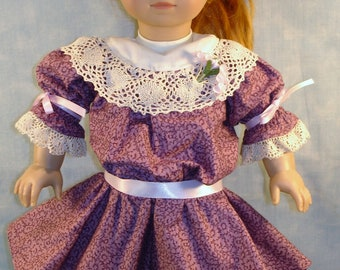 18 Inch Doll Clothes - 1904 Edwardian Mauve Floral Dress handmade by Jane Ellen to fit 18 inch dolls