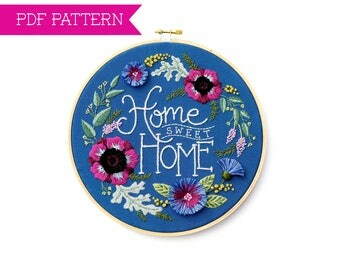 PDF Pattern, Home Sweet Home Pattern, Embroidery Pattern, Housewarming Gift, Hand Embroidery, Embroidery PDF, Home Embroidery Design