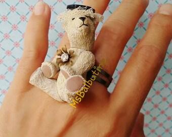"""Animal Ring """" Antique Bear """""""