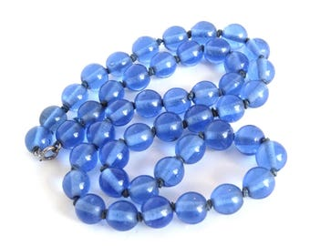 Vintage Cobalt Blue Glass Bead Necklace Long Art Deco Handmade Large Big Crystal Art Glass Beads Hand Knotted Antique Jewelry