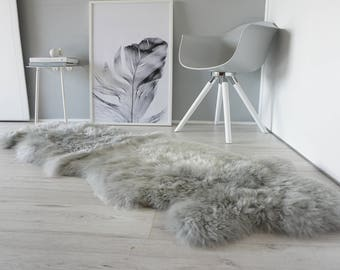Genuine Double Natural Sheepskin Rug - Extremely soft wool - Dyed Grey | Silver | Ash | Tan Mix  - DN 30