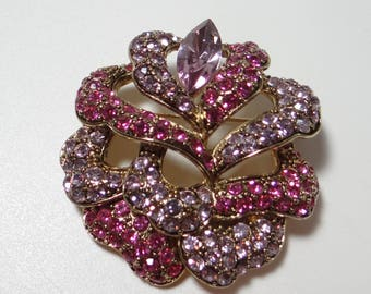 Vintage Signed Carolee Pink and Lavender Rhinestone Brooch with Large Marquis Accent Rhinestone - Pretty Pink Brooch - Gift for Her
