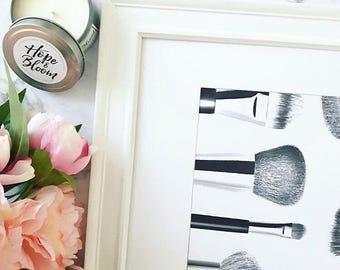 Make Up Print, Fashion Girl Print,Make up Brushes Print, Girl wall art, scandi & nordic decor, wall art, monochrome print, wall decor- 8x10'