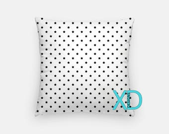 Simple Star Pillow, Space Pillow Cover, Star Pillow Case, Black and White Pillow, Artistic Design, Home Decor, Decorative Pillow Case, Sham