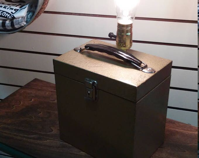 Featured listing image: Industrial Steampunk Vinyl Record Carrying Case Lamp. Repurposed Table Top Light. Music, Living Room, Bedroom, Home Decor. Free Shipping!!