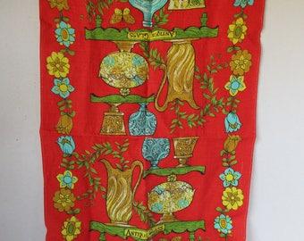 Linen Tea Towel Antique Glass Motif Red Golds Turquoise unused 60's