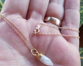 Rainbow Moonstone Necklace, Gold Moonstone Necklace, Moonstone Point Necklace, Gold Necklace, Boho Jewelry, Bohemian Jewelry