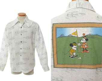 Vintage 70s Mickey and Minnie Mouse Golfing Disco Shirt 1970s Kennington Boogie Saturday Fever Pimp Prom Hipster Dance Party Shirt / L
