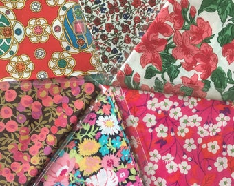 "10"" x 13"" pieces - Reds  - Pack of 6 Liberty London Tana Lawn"