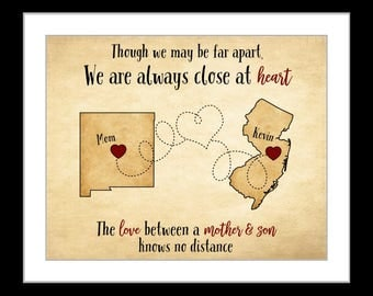 Gifts for mom, birthday gift mom, mother son to mom gifts, from son, personalized christmas gift long distance maps gifts mom christmas gift