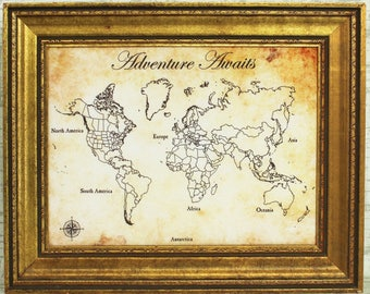 Antique Style Fabric Push Pin World Travel Map - Available personalized with names, wedding date, quotes