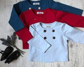 Sample Sale 50% OFF Baby boy Cardigan Size 9-12 months Double breasted cardigan Baby blue Wedding party outfit 1st birthday outfit