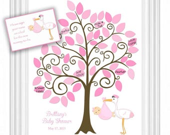 DIY Baby Shower Guest 11x14 Sign-In Tree Printable file - Baby Shower Guestbook Alternative - 50 leaves - Please READ entire DESCRIPTION!