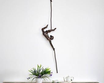 Metal wall sculpture, Acrobat sculpture, Female sculpture, interior design, Acrobat on aerial rope