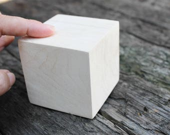 Big 65 mm unfinished wooden cube (block) 65x65 mm - natural eco friendly - alder tree (without hole)