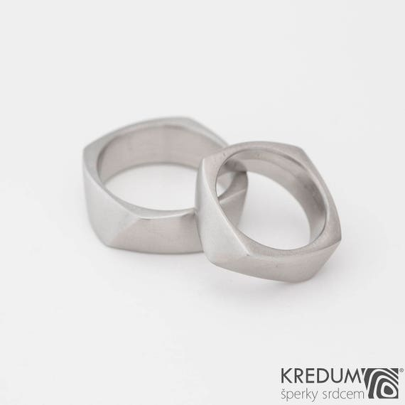 SQUARE Wedding Band Mens Womens HANDMADE Stainless Steel Ring Engagement Male Or Female