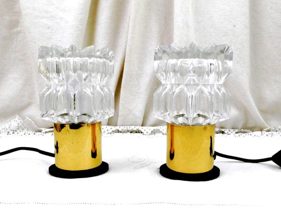 Vintage Pair of Mid Century Modern Thick Glass and Yellow Anodized Metal Base Table Lamps, 2 Retro 60s French Lighting, Duo 1970s  Lights