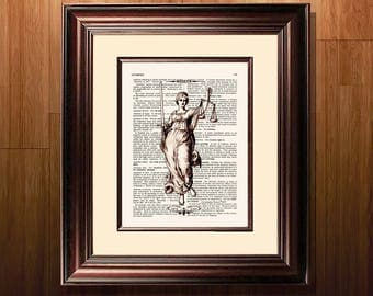 "Lawyer print, ""Vintage Lady Justice"" - 8.5""x11"", Lawyer Gift, Scales of Justice print, Pass the Bar gift, Law Office Decor, Attorney gift"