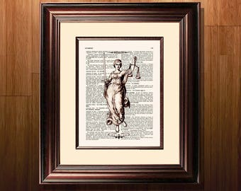 "Fine Art Print - ""Vintage Lady Justice"" - 8.5""x11"", Lawyer print, Lawyer Gift, Scales of Justice print, Pass the Bar gift, Law Office Decor"